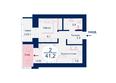 Жилой комплекс SCANDIS (Скандис), дом 7: Планировка двухкомнатной квартиры 41,2 кв.м