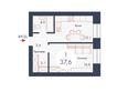 SCANDIS (Скандис), дом 9: Планировка однокомнатной квартиры 37,6 кв.м