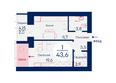 SCANDIS (Скандис), дом 4: Планировка однокомнатной квартиры 43,6 кв.м