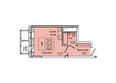 НА ДУДИНСКОЙ, дом 2 : Планировка однокомнатной квартиры 28,43 кв.м
