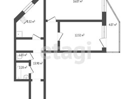 2-комнатная квартира, 53.6  м², 20/20 этаж