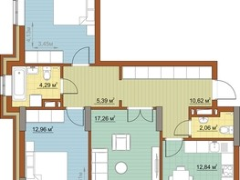 3-комнатная квартира, 79.34  м², 13-14/22 этаж