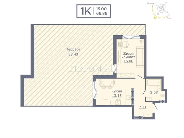 Планировки Жилой комплекс ДОМ НА САДОВОЙ - Планировка однокомнатной квартиры 66,86 кв.м