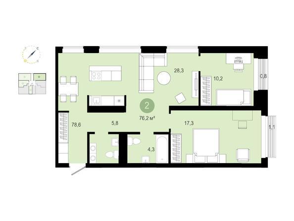 2-комнатная 76,19 кв.м