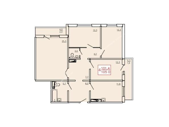 Планировки Жилой комплекс КУРЧАТОВА, дом 6, стр 2 - Планировка четырехкомнатной квартиры 105 кв.м. Этажи 10-16