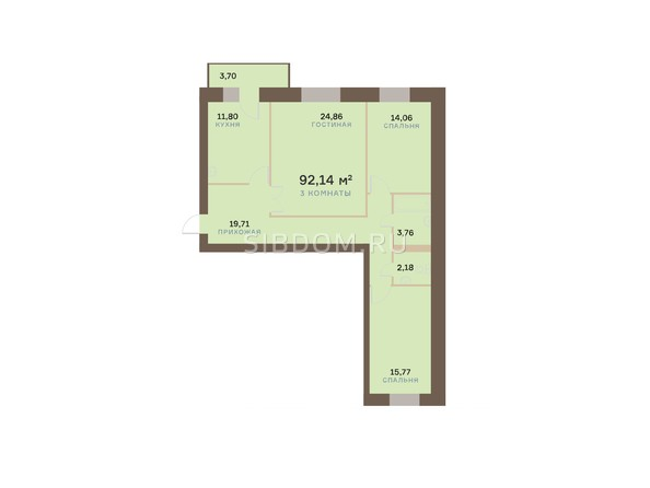 Планировки Жилой комплекс ЮЖНЫЙ БЕРЕГ, дом 17 - Планировка трехкомнатной квартиры 93,25 кв.м