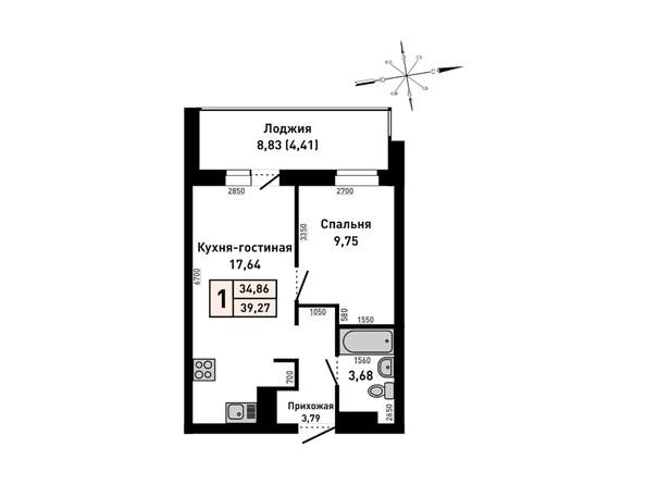 Планировки Жилой комплекс РУБИН - 1-комнатная 39,27 кв.м