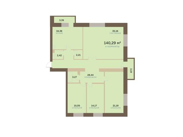 Планировки Жилой комплекс АЛЕКСАНДРОВСКИЙ, дом 1 - 4-комнатная 140,29 кв.м