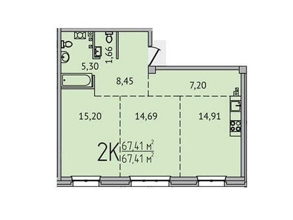 2-комнатная 67,41 кв.м