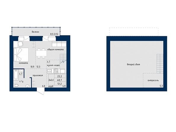 2-комнатная 51.2 кв.м