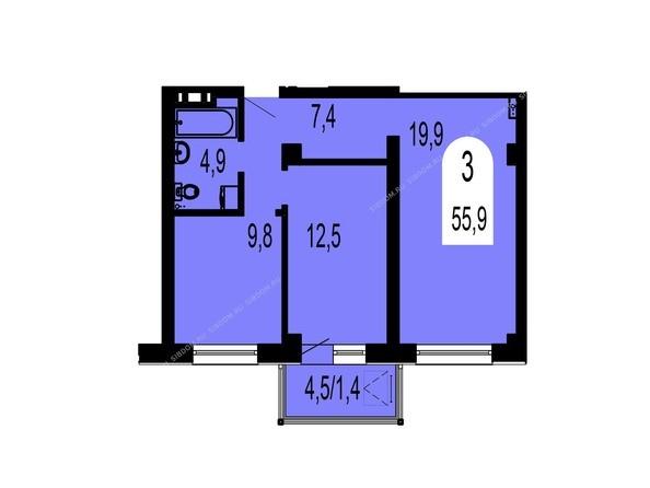 Планировки Жилой комплекс ТИХИЕ ЗОРИ, дом 1 (Красстрой) - Планировка трехкомнатной квартиры 55,9 кв.м