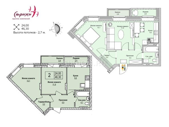 Планировки Жилой комплекс ЭВОЛЮЦИЯ, 1 оч, дом 3 - Планировка двухкомнатной квартиры 46,3 кв.м