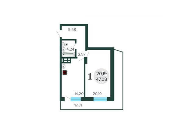 Планировки Жилой комплекс ОАЗИС, дом 27, стр 1, б/с 2 - Планировка однокомнатной квартиры 47,08 кв.м