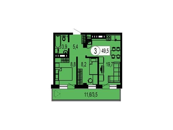 Планировка трехкомнатной квартиры 49,5 кв.м