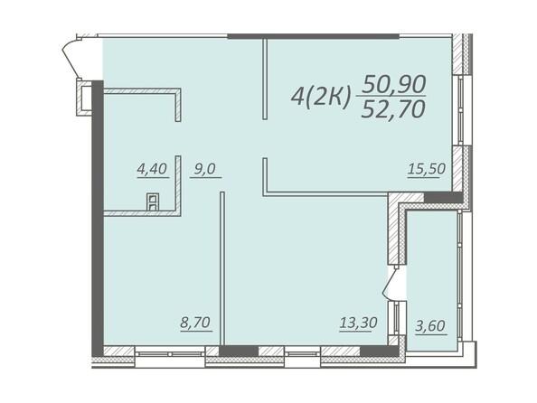 Планировка 2-комнатной квартиры 52,7 кв.м