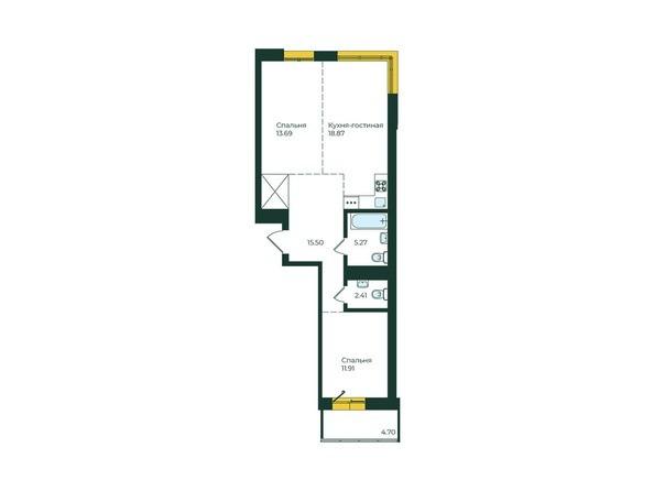 2-комнатная 72,35 кв.м