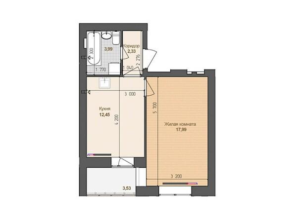 1-комнатная 36.76 кв.м