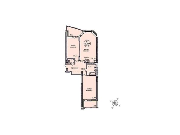 Планировки Жилой комплекс ЗАЕЛЬЦОВСКИЙ, 1 этап - Планировка трехкомнатной квартиры 79,54 кв.м