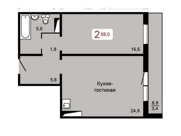 Планировка 2-комн 58 м²