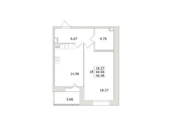 Планировки Жилой комплекс СЕМЬЯ, 1 оч - 1-комнатная 46,48 кв.м