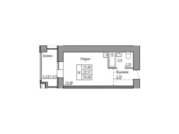 Планировки МАЯКОВСКИЙ - 1-комнатная 24,08 кв.м.