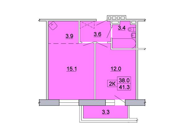 2-комнатная 41,3; 41,1 кв.м
