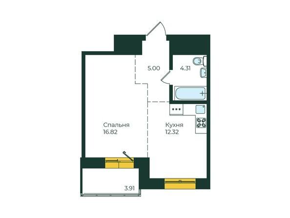 1-комнатная 42,36 кв.м
