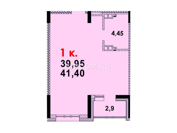 Планировка 1-комн 40,89 м²