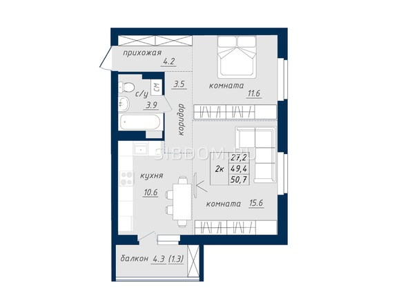 Планировка 2-комн 50,4, 50,7 м²