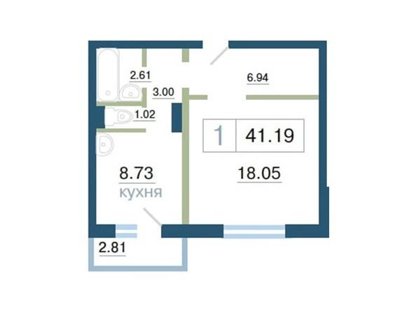 Планировка 1-комн 41,19, 41,24 м²