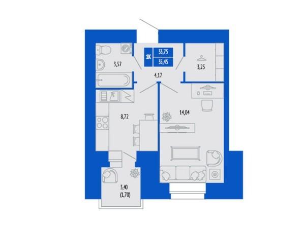 1-комнатная 35.45 кв.м