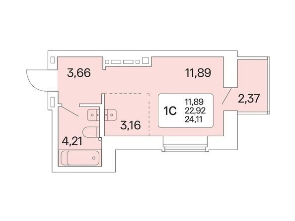 1-комнатная 24,11 кв.м
