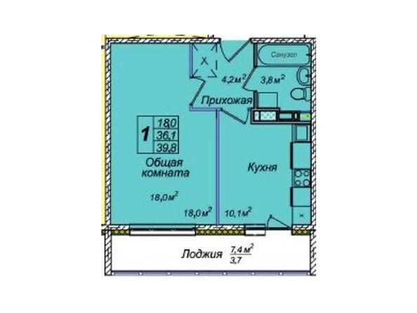 Планировки Жилой комплекс ВЕНЕЦИЯ-2, дом 8 - 1-комнатная 39,8 кв.м