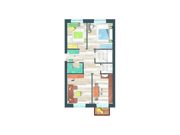 Планировки Жилой комплекс ЖИВЁМ эко-район, 10 квартал, дом 1 - Планировка трехкомнатной квартиры 75,3 кв.м