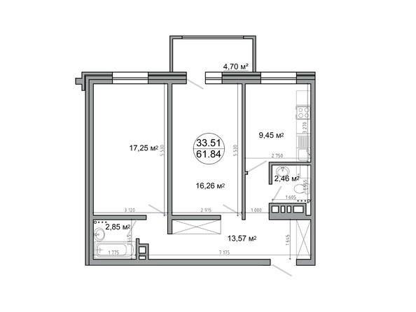 2-комнатная 61,84 кв.м