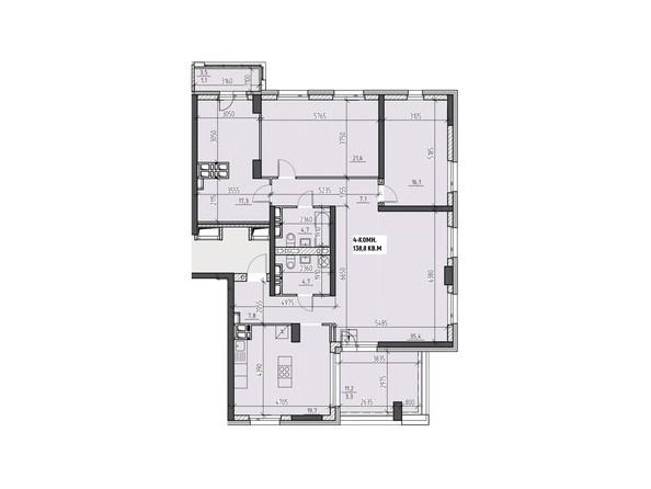 Планировки Жилой комплекс НА ВЫСОТЕ, 2 этап - Планировка четырехкомнатной квартиры 138,8 кв.м
