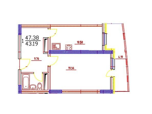 1-комнатная 47,38 кв.м