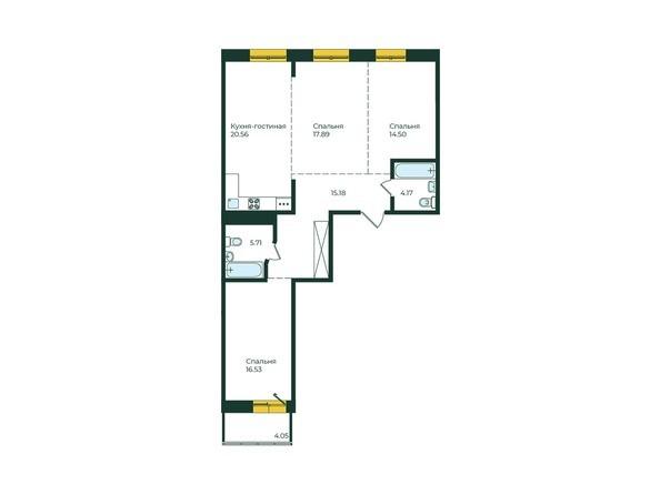 3-комнатная 98,59 кв.м