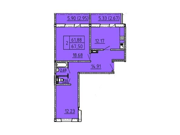 Планировки Жилой комплекс Павловский тракт, 305г - Планировка двухкомнатной квартиры 67,5 кв.м.