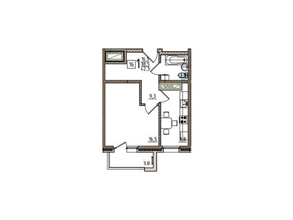 1-комнатная 42,3 кв.м