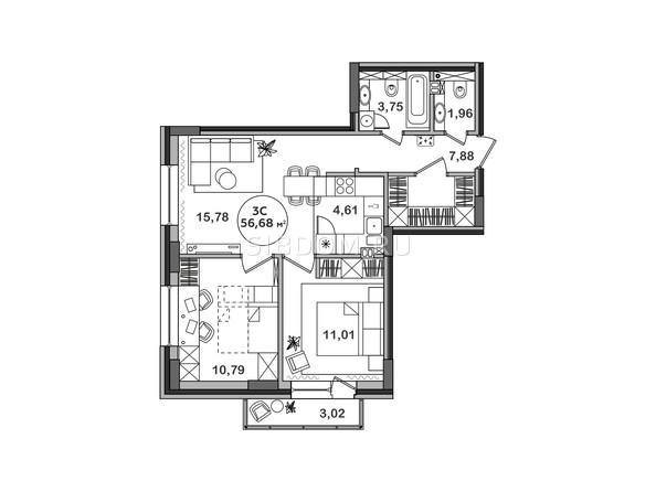 Планировка 3-комн 56,58, 56,68 м²