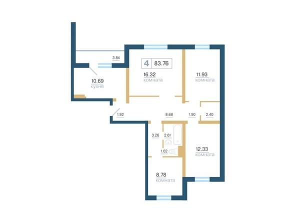 Планировка 4-комн 83,76, 84 м²