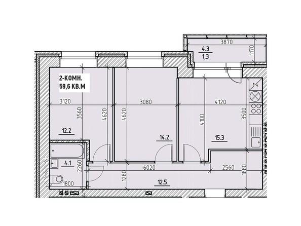 Планировка двухкомнатной квартиры 59,6 кв.м