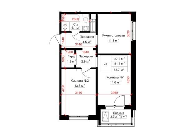 Планировки ТИТАН - Планировка двухкомнатной квартиры 53,7 кв.м