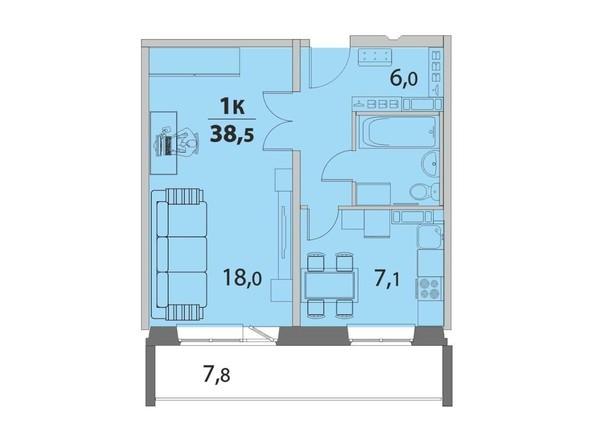 1-комнатная 38.5 кв.м