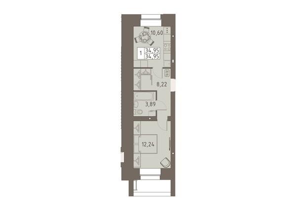 Планировки ВАВИЛОВСКИЙ ДВОРИК - 1-комнатная 34,95 кв.м