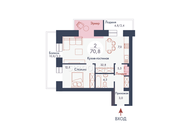 Планировки Жилой комплекс SCANDIS (Скандис), дом 11 - Планировка двухкомнатной квартиры 70,8 кв.м