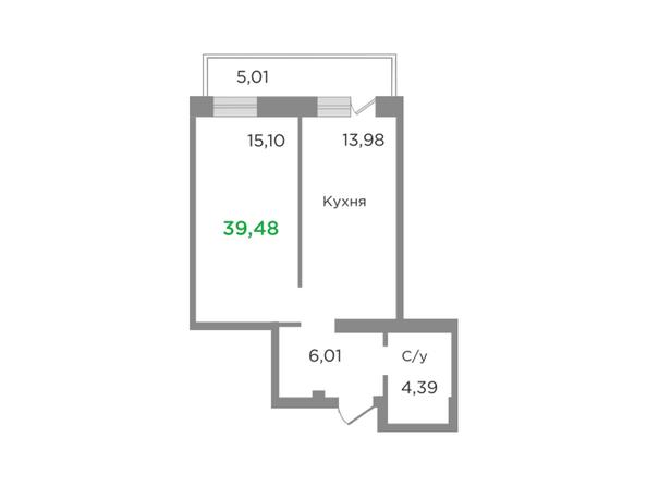Планировки Жилой комплекс ЯСНЫЙ БЕРЕГ, дом 7 - Планировка однокомнатной квартиры 39,48 кв.м