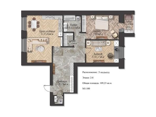 Планировка 3-комн 109,23 м²