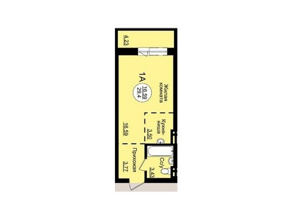 Планировки Жилой комплекс ГВАРДЕЙСКИЙ - Планировка однокомнатной квартиры 29,4 кв.м